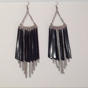 Silver Tone Chain Black Earrings Approx 5 1/2""